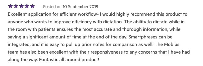 5-star review from a Mobius clinic user